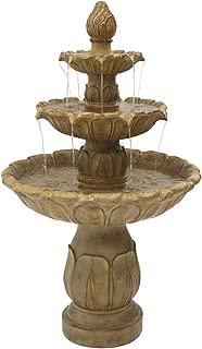 Sunnydaze Classic Tulip Three-Tier Outdoor Water Fountain, 46 Inch