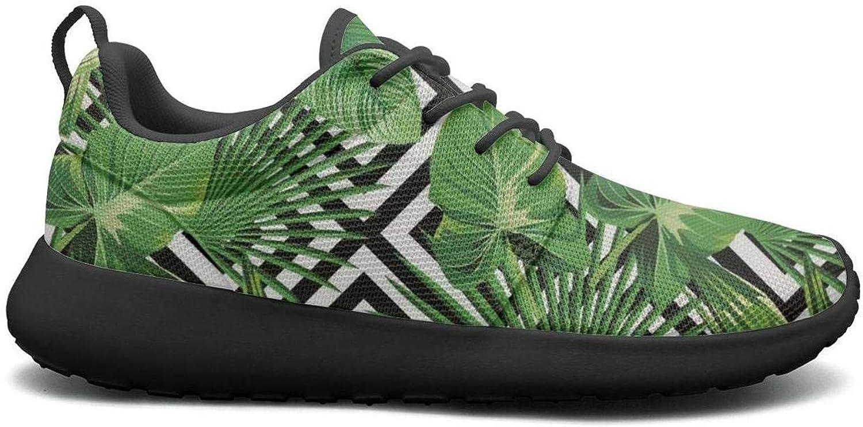 Gjsonmv Palm Sunday Palm Tree Geometric Pattern Green mesh Lightweight shoes for Women Non Slip Sports Bike Sneakers shoes