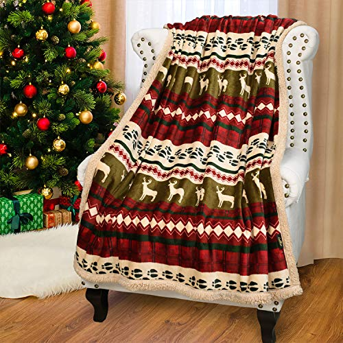 Catalonia Christmas Sherpa Throw Blanket,Super Soft Fleece Plush Sofa Couch Blanket,TV Bed Blanket,Comfy Cozy Fluffy Warm,Christmas Theme Throws, Blanket(50x60 inch,Reindeer)