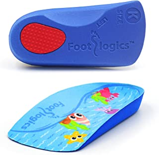 Footlogics Fun Kids Orthotic Shoe Insoles with Arch Support for Children's Heel Pain (Sever's Disease), Growing Pains, Flat Feet - Children's, Pair 3/4 Length (Small Kids 11-13, Blue)