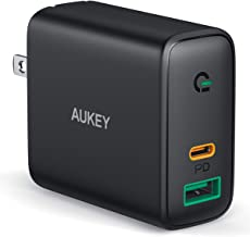 AUKEY USB C Charger 30W Power Delivery 3.0 Fast Charger with Dynamic Detect, USB C Wall Charger Dual Port for iPhone 11 Pro Max, iPhone SE, Google Pixel 4 XL, MacBook Air, iPad Pro, Airpods Pro