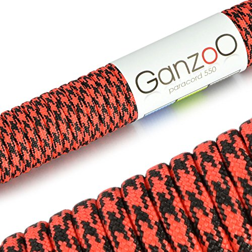 Paracorde 550, corde de survie à usages multiples et ultra-résistante, corde de parachute, corde gainée en nylon, longueur totale: 31m, couleurs: rouge et noir – ATTENTION: NE PAS UTILISER CETTE CORDE POUR L'ESCALADE, de la marque Ganzoo