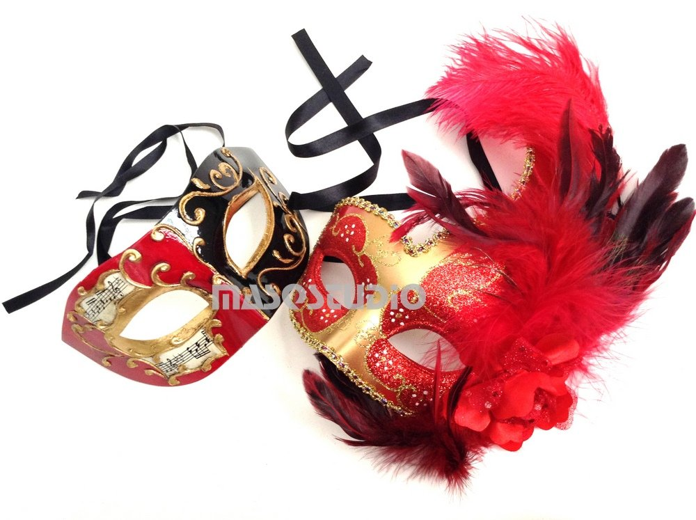 HIS N HERS PAIR COUPLES RED AND BLACK VENETIAN MASQUERADE PARTY PROM EYE MASKS