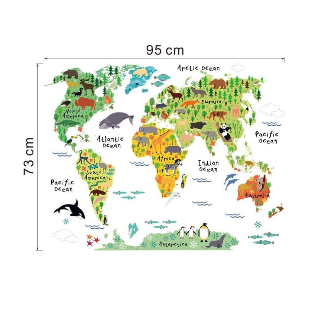 Sencillo Vida Colorido Mundo Animal Mapa Pegatinas de Pared para ...