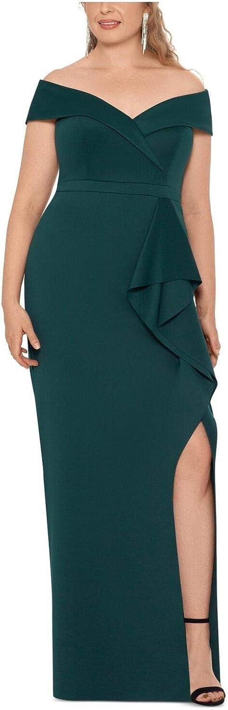 Xscape Womens Green Slitted Ruffled Sleeveless Off Shoulder Full-Length Empire Waist Formal Dress Size 18W- Hunter Green