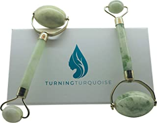 Large Jade Roller by Turning Turquoise - Y-shaped Natural Stone - Great for Daily Use on Face and Body- Organic Tool Aids in Anti-aging By De-puffing Under Eyes and Reducing Wrinkles by Firming Skin