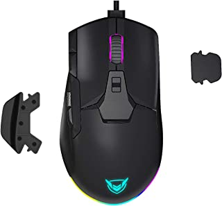 PICTEK Wired RGB Gaming Mouse, Side Metal Scroll Wheel for Volume Control, 8 Button Programmable Mice with Detachable Fing...