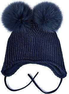 SOMALER Toddler Boys Girls Ear Flap Beanie Hat Winter Fleece Lined Double Pom Beanies