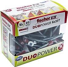 Fischer Taco DuoPower T (Caja Tacos + 30 Tornillos), 536390, Gris+rojo, 6x30 S