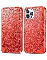 """Hoesje voor iPhone 12 / iPhone 12 Pro 6.1"""" Wallet Book Case, Magneet Flip Wallet met Kaarthouders slots Robuuste schokbestendige Bookcase voor iPhone 12 - JESD090066 Rood"""