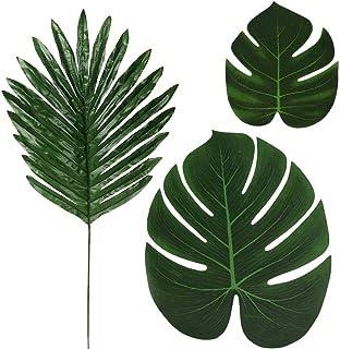 36 Pcs 3 Kinds Artificial Palm Leaves Tropical Plant Faux Leaves Safari Leaves Hawaiian Luau Party Suppliers Decorations,Tiki Aloha Jungle Beach Birthday Table Leave Decorations