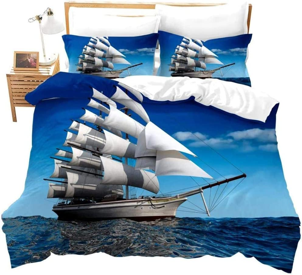 Max 79% OFF JCYUEDRN 3D Printed Duvet Cover Blue Sailing Sailboat Sky La Sea All stores are sold