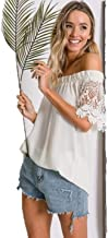 Davi and Dani Womens Top Blouse Crochet Accent Sleeve Off Shoulder Casual Dressy