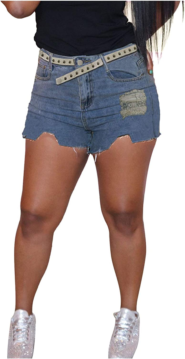 Jeans Pant for Women, Women's High Waisted Pure Slim Cut Burr Short Front and Long Back Denim Shorts