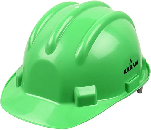 Karam ISI marked Safety Helmet Ratchet Type with Plastic Cradle  (Fluorescent Green) PN521