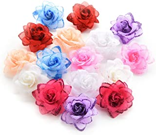 Fake flower heads in bulk wholesale for Crafts Silk Rose Flowers Head Artificial Flowers for Birthday Wedding Home Party Decoration & Wedding Car Corsage Decoration 30PCS 4.5cm (Colorful)