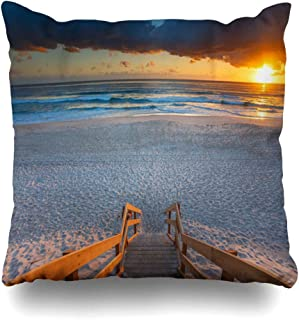 Ahawoso Throw Pillow Cover Square 20x20 Sky Australia Australian Beach Entry Stairs Foreground Sunrise Nature Mermaid Parks Coast Qld Natural Decorative Zippered Cushion Case Home Decor Pillowcase