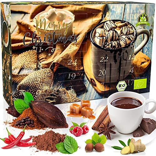 C&T BIO Trinkschokolade-Adventskalender 2020 NEU mit 2x12 Sorten feinstem Schokoladenpulver aus ökologischem Anbau - Kakao genießen - Weihnachts-Kalender mit Kakaospezialitäten zum selber machen