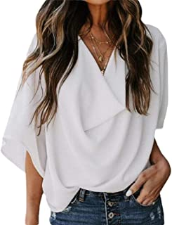 GAGA Womens Casual Scoop Neck Short Sleeve Solid Asymmetrical Pleated T-Shirt Blouse Top