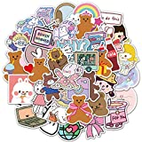 Cute Girls Stickers for Water Bottles 50 pcs, Waterproof Vinyl Fresh Stickers for Teens, Girls, Kids, Graffiti, Cool Trendy for Laptop Guitar Camera Phone Luggage
