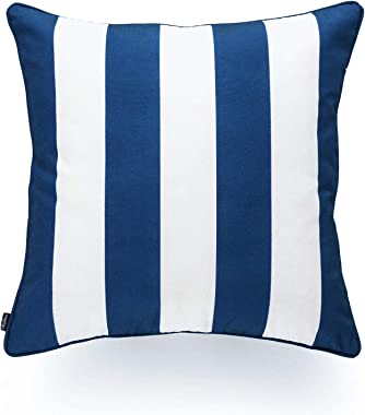 """Hofdeco Indoor Outdoor Pillow Cover ONLY, Water Resistant for Patio Lounge Sofa, Navy Blue White Stripes, 18""""x18"""""""