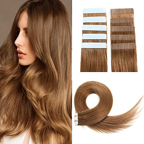 SUYYA Tape in Hair Extensions Remy Human Hair 14 inches 40g/pack 20pcs Straight Seamless Skin Weft Tape Hair Extensions(14 inches Color 8 Light Brown)