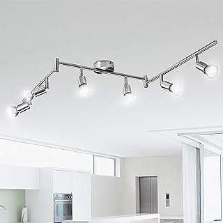 Plafonnier LED 6 Spots Orientables, Kimjo 6×Ampoules GU10 6W, 4500K 550LM Blanc Neutre Plafonnier Spot, Moderne Luminaire ...