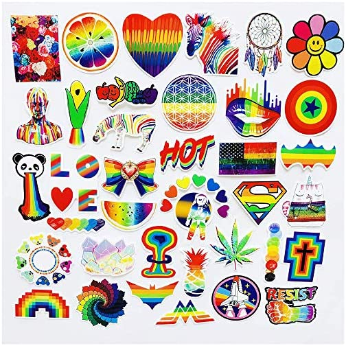 COOLCOOLDE Water Bottle Stickers Gay Pride Stickers 60 pcs Bright Technicolor Rainbow Stickers Car Bike Scooter Suitcase…  