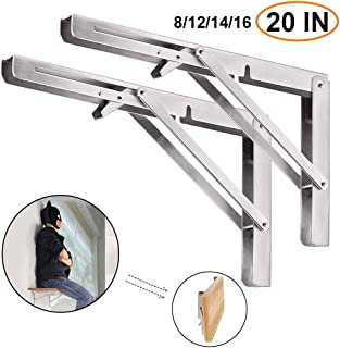 Folding Shelf Brackets 20 Inch, 2pcs Heavy Duty Stainless Steel Collapsible Shelf Bracket Wall Mounted DIY Triangle Brackets for Table Work Bench, Space Saving Max Load 500 lb