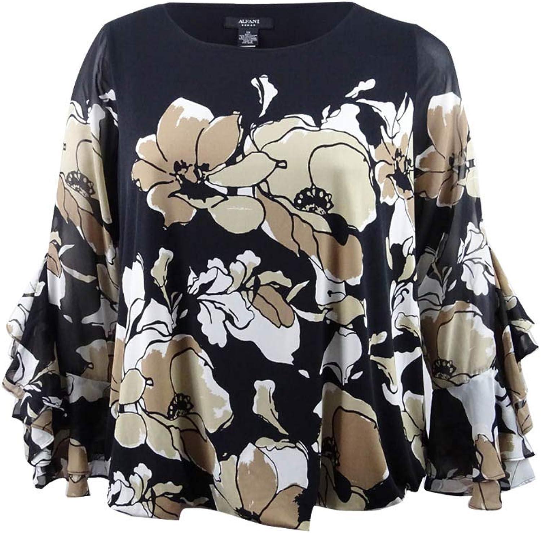 Alfani Womens Plus Printed Ruffle Sleeves Blouse