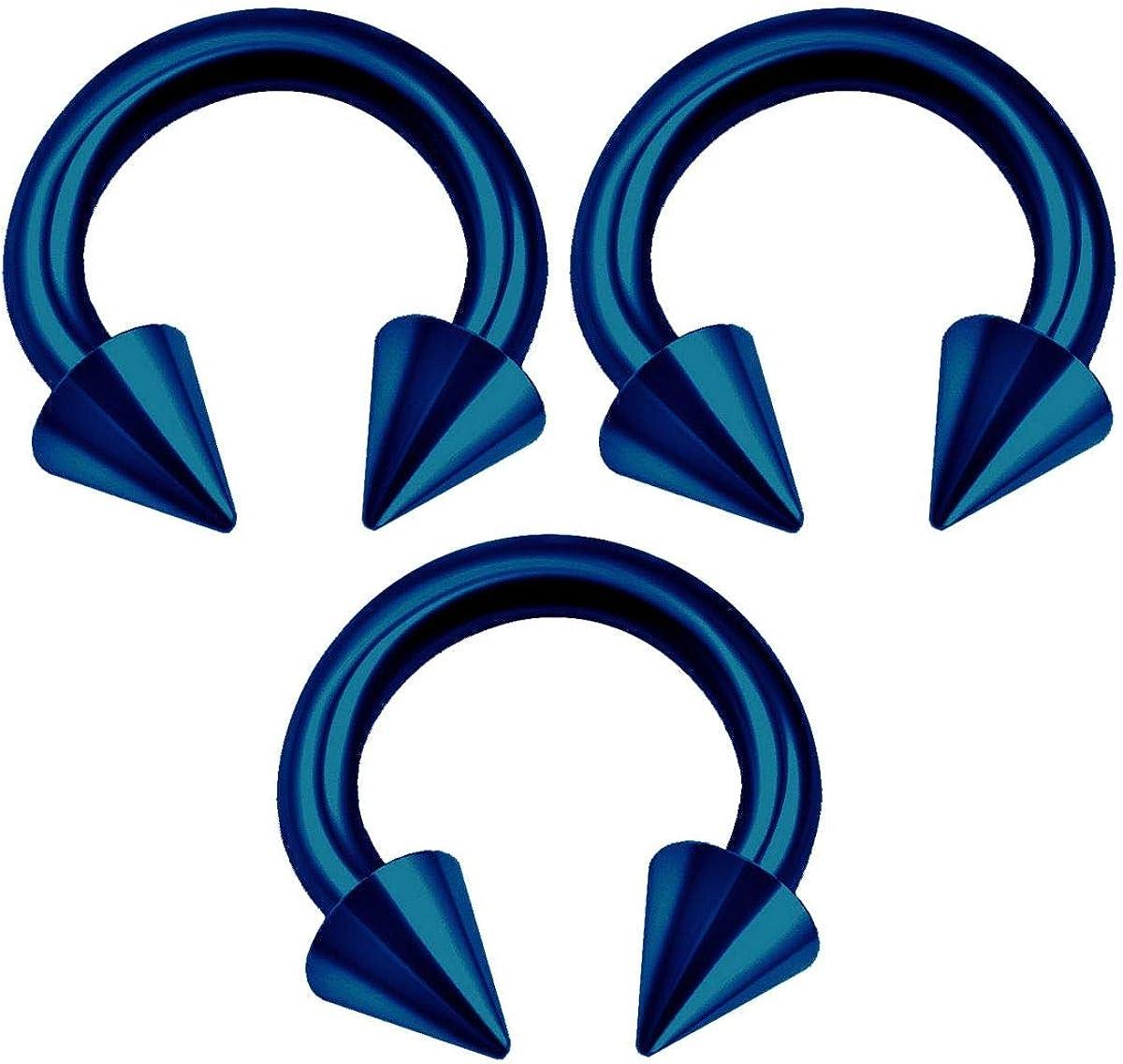 BanaVega 3PCS Surgical Steel Dark Blue Horseshoe Barbell 16g 3mm Spike Tragus Daith Lip Earrings Septum Piercing Jewelry Choose Sizes