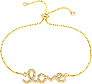 cengXY160h Simple Letter Bracelets Love Chain Bracelet Bangle with Clear AAA Cz Stone Women Adjustable Party Jewellery Slide