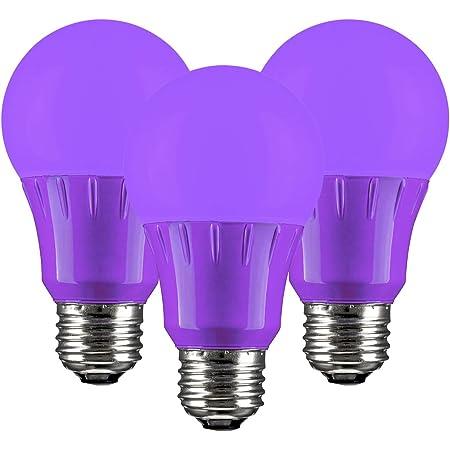 SUNLITE 41527 Purple LED A19 3 Watt Medium Base 120 Volt UL Listed LED Light Bulb, Last 25,000 Hours, 3 Pack (41527-SU)