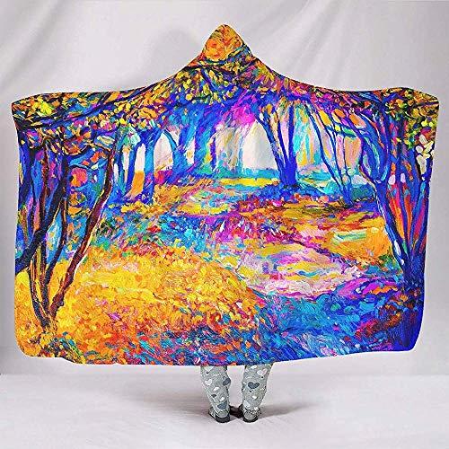 Zseeda Abstracto Colorido Bosque Pintura Visual Naturaleza Mente Meditación Obra de Arte Místico Súper Grueso Sherpa Cape Throw Wrap Robe Manta con Capucha