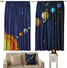 GUUVOR Space Shading Insulated Curtain Solar System with Sun Uranus Venus Jupiter Mars Pluto Saturn Neptune Image Soundproof Shade W100 x L63 Inch Dark Blue Orange