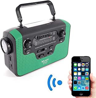BoTaiDaHong Alert Weather Radio, Solar Hand Crank AM/FM/SW/WB Emergency Weather Radio, SD Card Player, Bluetooth Speaker with LED Flashlight and USB Charger (Green)