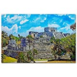 México Tulum Ruinas Mayas Cancún Puzzle 1000 Piezas para Adultos Familia Rompecabezas Recuerdo Turismo Regalo