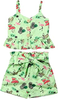 Toddler Kids Baby Girl Floral Halter Ruffled Outfits...