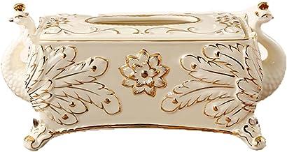Deksel van tissuedoos Europese stijl tissue box houtkap houder Pauwornamenten for Edroom Office Bathroom Home Restaurant T...
