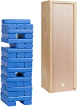 WE Games Wood Block Toppling Party Game - Includes 12 in. Wooden Box and die - with Blue Blocks