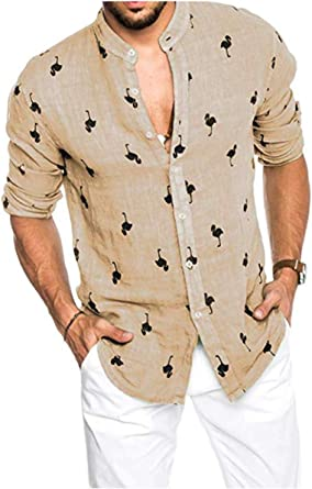 Hertsen Camisas hawaianas para hombre con estampado de flamenco de lino para verano, playa, abotonadas, camisas de manga larga