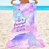 Bonsai Tree Mermaid Beach Towel, Mermaid Tail Cute Microfiber...
