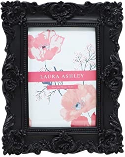 Laura Ashley 4×6 Black Ornate Textured Hand-Crafted Resin Picture Frame with Easel..