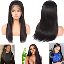 ALIMICE Straight 12 inch 13×6 Lace Front Wigs Brazilian Remy Human Hair Wigs with Baby Hair For Black Women Deep Part Lace Frontal Wigs (130% Density,natural color)