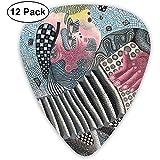 12 Pack Púas de guitarra Plectrums Acordeón Imprimir Juego de selección de guitarra de celuloide para guitarra eléctrica acústica Bajo Mandolina Ukulele 0.46 mm 0.71 mm 0.96 mm