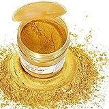 JEMESI 50g pigmentos en polvo de Mica para teñir resina epoxi transparente,colorante jabon, bombas de baño, hacer slime, Maquillaje - Oro