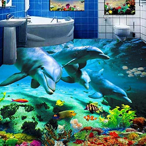 Rureng Decoración Hogar Piso 3D Impresión Mar Mundo Delfín Suelo De Vinilo Pvc 3D Impermeable Autoadhesivo Piso De Vinilo Pvc-150X120Cm