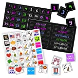 Colorful Magnetic Numbers and Month Labels to Organize Any Dry Erase Magnet Fridge Calendar, Plus Fun and Reusable Holiday Icons (Black)