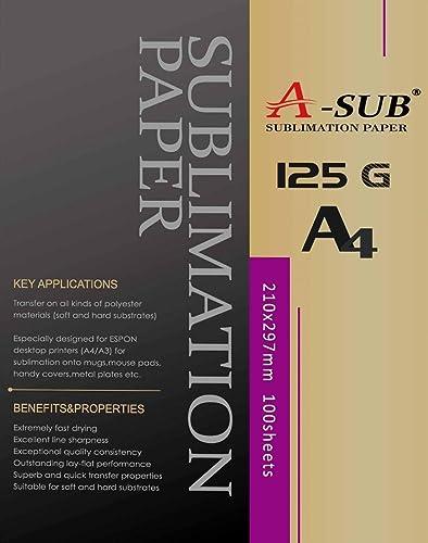 A-SUB Papier de sublimation A4, 210x297 mm, 100 feuilles, 125 g/m², Compatible avec les imprimantes à sublimation EPS...