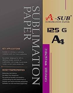 A-SUB Sublimatiepapier A4, 210x297mm, 100 vellen, 125 g/m², Compatibel met EPSON, SAWGRASS, RICOH, BROTHER Sublimatieprinter
